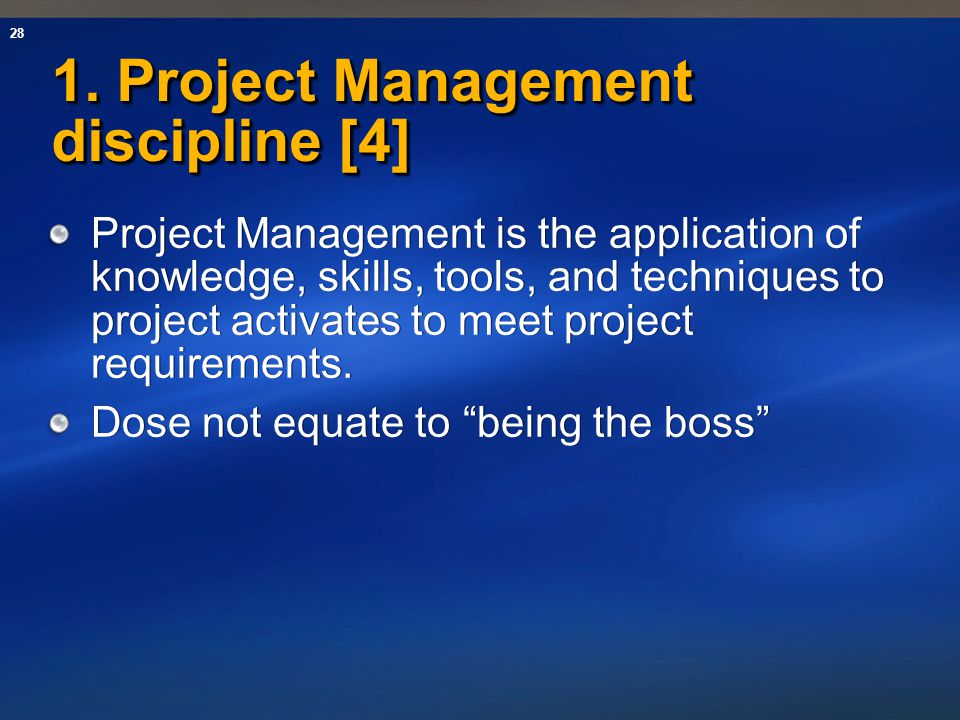 1. Project Management discipline [4]